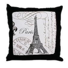 Vintage Eiffel Tower Throw Pillow