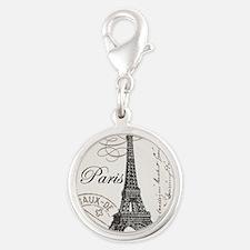 Vintage Eiffel Tower Silver Round Charm