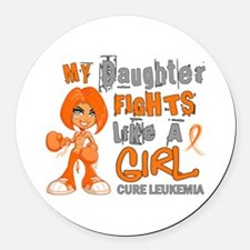 Fights Like a Girl 42.9 Leukemia Round Car Magnet