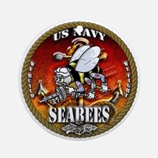 US Navy Seabees Gold Lava Glow Ornament (Round)