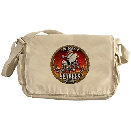 US Navy Seabees Gold Lava Glow Messenger Bag
