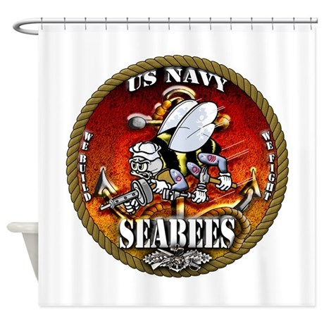US Navy Seabees Gold Lava Glow Shower Curtain By VeteransTShirts2