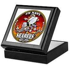 US Navy Seabees Gold Lava Glow Keepsake Box