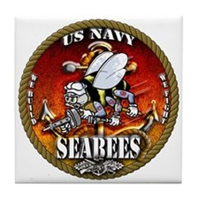 US Navy Seabees Gold Lava Glow Tile Coaster
