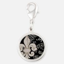 Vintage Fleur de Lis Silver Round Charm
