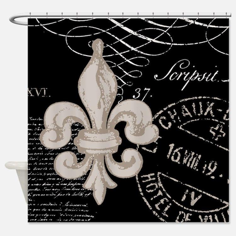 Fleur De Lis Black And Gold Shower Curtains   Fleur De Lis Black ...
