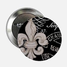 """Vintage Fleur de Lis 2.25"""" Button"""