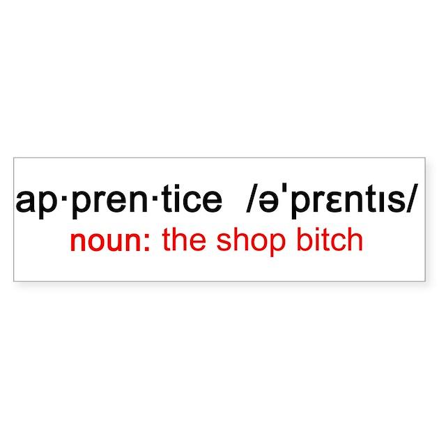 Apprentice Definition Bumper Sticker By