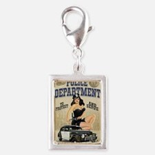 Police Department Silver Portrait Charm