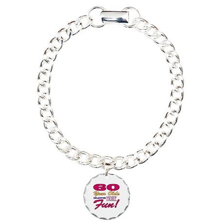 Fun 60th Birthday Gifts Charm Bracelet, One Charm