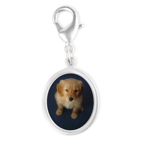 Golden Retriever Puppy Silver Oval Charm