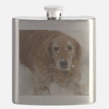 Golden Retriever in the snow Flask