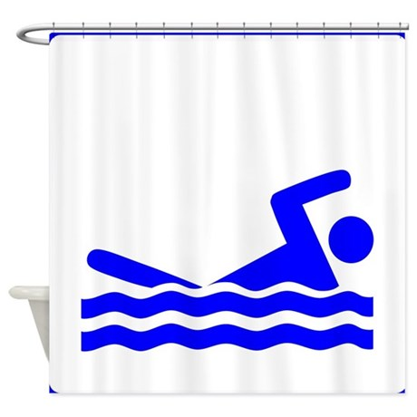 Blue swimming icon shower curtain by kevssports Swimming pool shower curtain