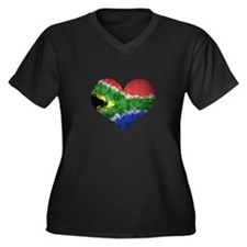 South African heart Women's Plus Size V-Neck Dark