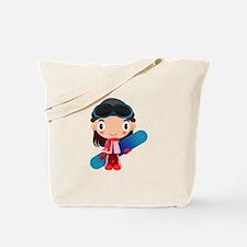 Snowboarder Girl Cartoon Tote Bag