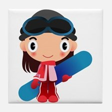 Snowboarder Girl Cartoon Tile Coaster