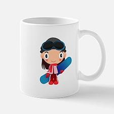 Snowboarder Girl Cartoon Mug