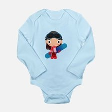 Snowboarder Girl Cartoon Long Sleeve Infant Bodysu