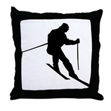 Downhill Skier Throw Pillow