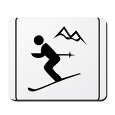 Skiing Sign Mousepad