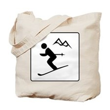 Skiing Sign Tote Bag