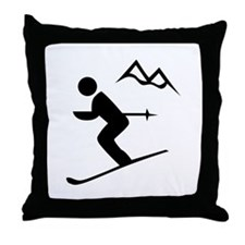 Skiing Sign Throw Pillow