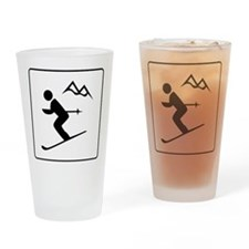 Skiing Sign Drinking Glass