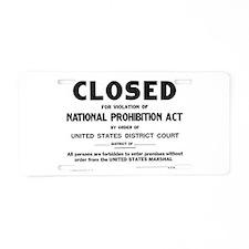 Prohibition Sign Aluminum License Plate