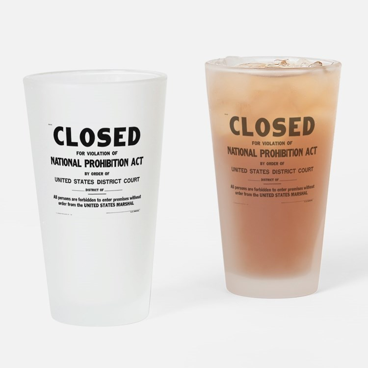 Prohibition Sign Drinking Glass