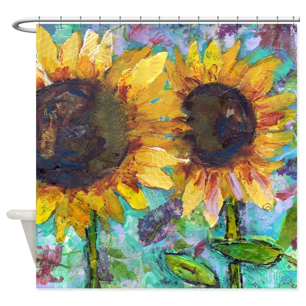 Sunflower Friends Bathroom Shower Curtain By Schulmanart