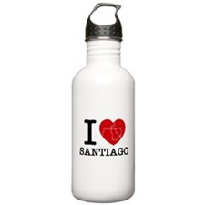 I LOVE (heart) SANTIAGO - metro Water Bottle