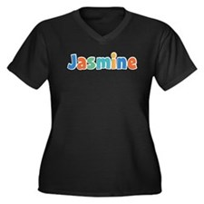 Jasmine Spring11B Women's Plus Size V-Neck Dark T-