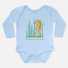 Personalized Orange Seahorse Long Sleeve Infant Bo