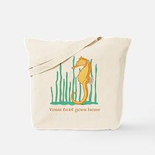 Personalized Orange Seahorse Tote Bag