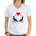 Hearts Rock Women's V-Neck T-Shirt