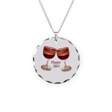 Happy 50th Birthday Wine Glasses Necklace Circle C