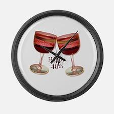Happy 40th Birthday Wine Glasses Large Wall Clock