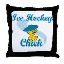 Ice Hockey Chick #3 Throw Pillow
