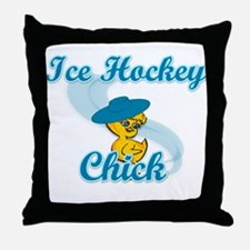 Ice Hockey Chick #3 Throw Pillow