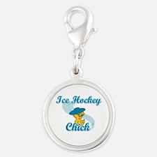 Ice Hockey Chick #3 Silver Round Charm