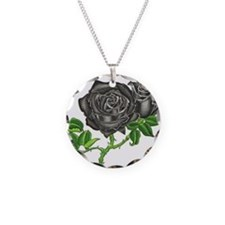 Black Velvet Necklace Circle Charm