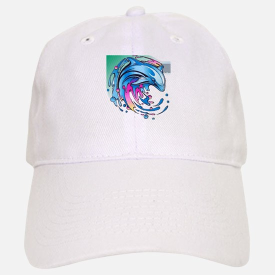 Dolphin Flash Splash Baseball Baseball Cap