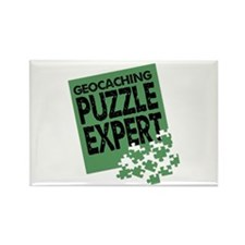 Geocaching Puzzle Expert Rectangle Magnet