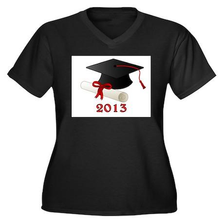 GRADUATE 2013 Women's Plus Size V-Neck Dark T-Shir