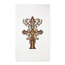Gold Christian Cross 3'x5' Area Rug