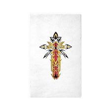 Ornate Christian Cross 3'x5' Area Rug