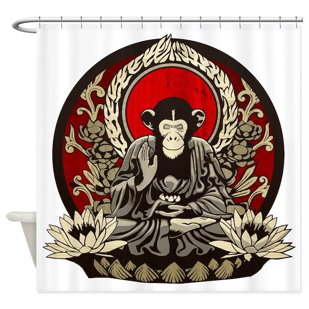 Zen Chimp Shower Curtain by DastardlyDinostore