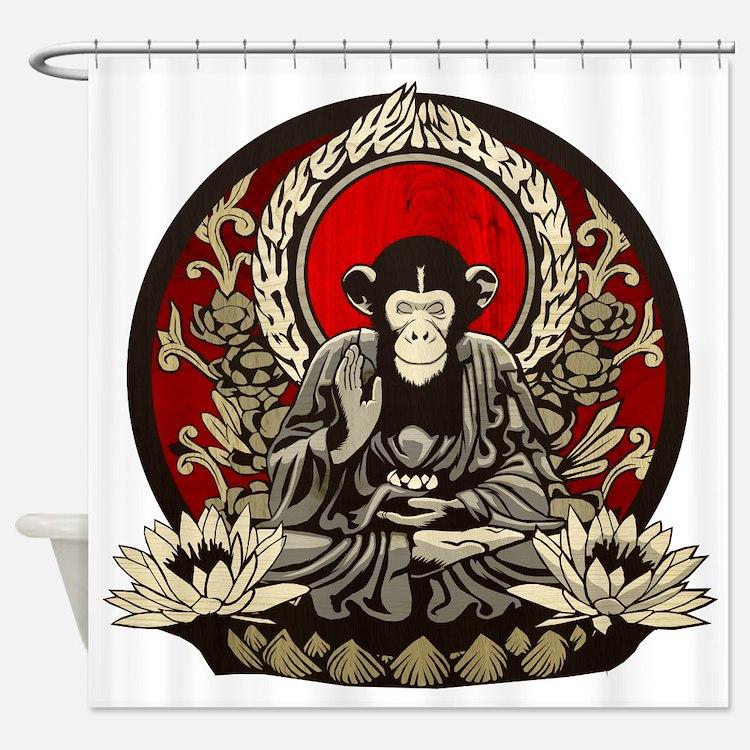 Zen Chimp Shower Curtain