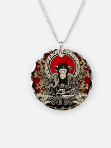 Zen Chimp Necklace Circle Charm
