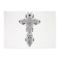 Black and White Celtic Cross 5'x7'Area Rug